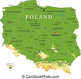 Poland relief map - Highly detailed physical map of the ...
