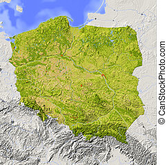 Poland. Shaded relief map with major urban areas. Surrounding territory greyed out. Colored according to vegetation. Includes clip path for the state area.