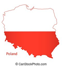 Poland Silhouette Flag Map