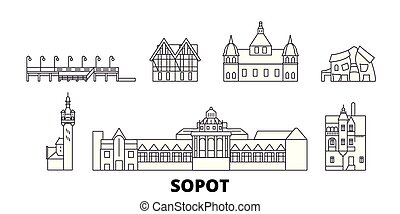 Poland, Sopot line travel skyline set. Poland, Sopot outline...