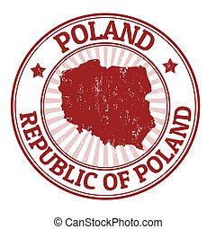 Poland stamp - Grunge rubber stamp with the name and map of...