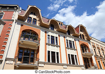 Tarnowskie Gory, Silesia region in Poland. Old town residential buildings along Krakowska street.