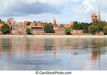 Poland - Torun, city divided by Vistula river between Pomerania and Kuyavia regions. Old town.