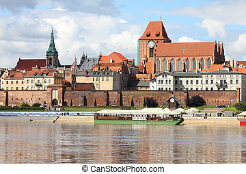 Poland - Torun, city divided by Vistula river between Pomerania and Kuyavia regions. The medieval old town is a UNESCO World Heritage Site.