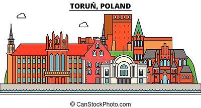 Poland, Torun. City skyline, architecture, buildings, streets, silhouette, landscape, panorama, landmarks. Editable strokes. Flat design line vector illustration concept. Isolated icons