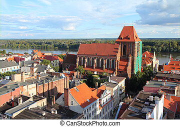 Poland - Torun. Old town skyline - aerial view from town hall tower. The medieval old town is a UNESCO World Heritage Site.
