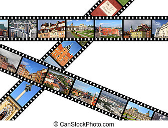 Warsaw, Poland. Illustration - film strips with travel memories. All photos taken by me, available also separately.