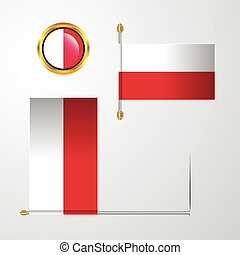 Poland waving Flag design with badge vector