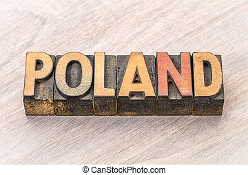 Poland word in vintage wood type