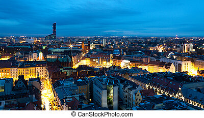 Wroclaw's cityscape (Poland) as seen from the Maria Magdalena Church Tower at night