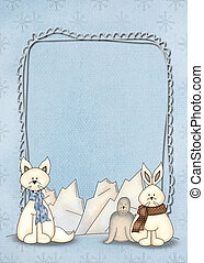 polar animals on winter frame - Seal, fox, and rabbit with ...