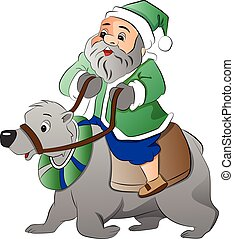 polar, antigas, ilustração, urso, montando, homem