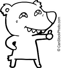 polar, aufgabe, bär, zeichen, daumen, karikatur
