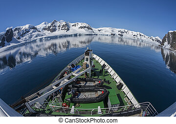 polar, -, baía, antártica, paraisos , navio, pesquisa