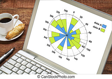 polar bars graph on a laptop