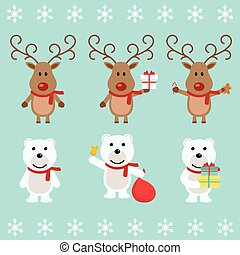 Polar bear and Christmas reindeer. Funny cartoon character. Vector illustration. Isolated on white background. Set