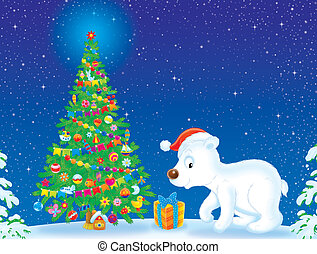 Polar Bear and Christmas tree