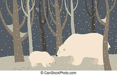 Polar bear and cub in the forest - Vector polar bear and cub...