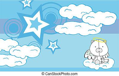 polar bear angel cartoon background