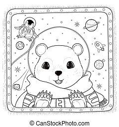 polar bear astronaut coloring page