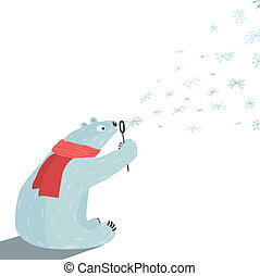Polar Bear Blowing Snowflakes - White bear in red scarf...