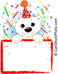 Adorable Polar Bear Cab Wearing A Party Hat, Looking Over A Blank Starry Sign With Colorful Confetti