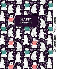 Polar bear card - Card with cute polar bears and snowflakes....