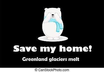 Polar bear cartoon character. Global warming. Greenland island..