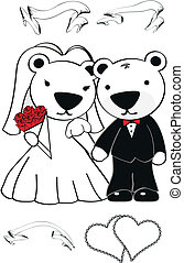 polar bear cartoon wedding set