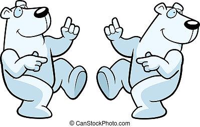 Polar Bear Dancing - A happy cartoon polar bear dancing and...