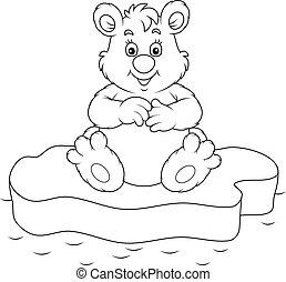 Polar bear - Black and white vector illustration of a white...