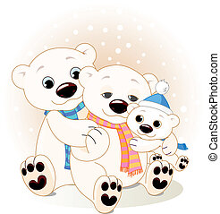 Polar bear family - A Mommy and Daddy bear with their baby ...