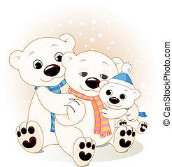 Polar bear family - A Mommy and Daddy bear with their baby ...