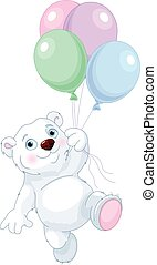 Polar Bear Flying With Balloons
