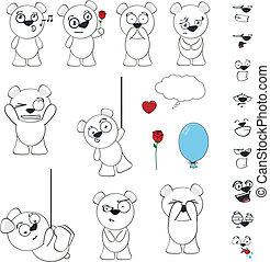polar bear funny cartoon set vector - polar bear funny...