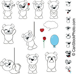polar bear funny cartoon set vector