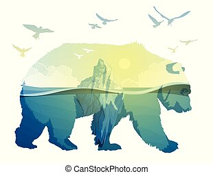 Polar Bear, global warming. Double exposure - Polar Bear and...