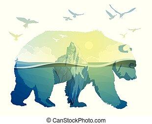 Polar Bear, global warming. Double exposure - Polar Bear and...