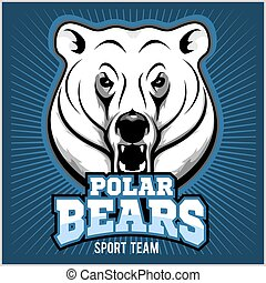 Polar Bear Head mascot - vector illustration on blue...