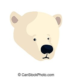 polar bear head on white background