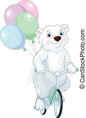 polar bear, het berijden van een fiets, met, ballons