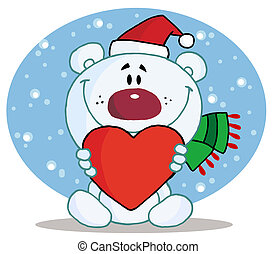 Polar Bear Holding A Heart