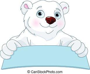 Polar Bear Holding a Sign