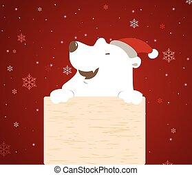 Polar bear holding wood board.