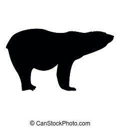 Polar bear icon black color illustration flat style simple...