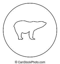 Polar bear icon black color in round circle outline vector...