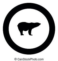 Polar bear icon black color in round circle vector...