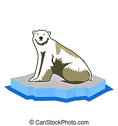 Polar bear icon, flat design. Animal logo.