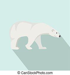 Polar bear icon, flat style