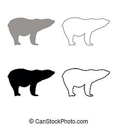 Polar bear icon outline set grey black color - Polar bear...